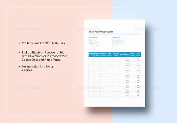 Amortization Schedule Templates u2013 10+ Free Word, Excel, PDF Format - sample payment schedule template