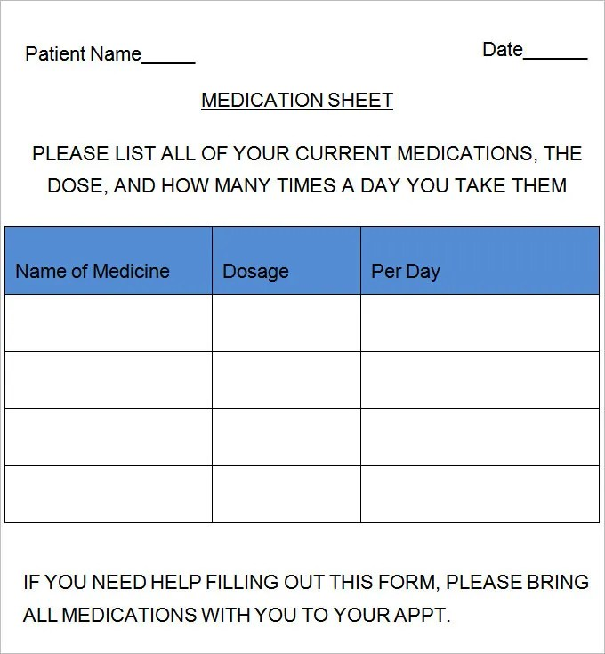 Medication Sheet Template - 10+ Free Word, Excel, PDF Documents