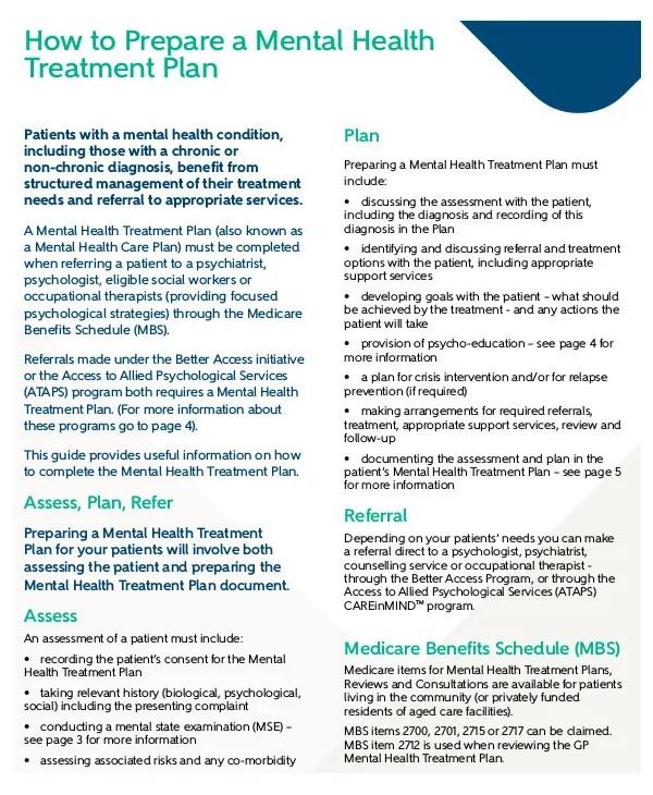 11+ Mental Health Care Plan Templates - PDF, DOC Free  Premium