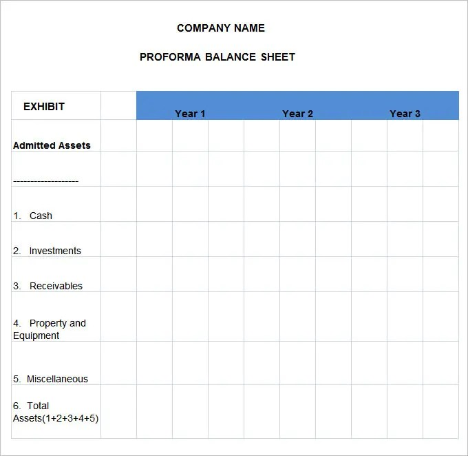 Pro Forma Balance Sheet - 8 Free Excel, PDF Documents Download - balance sheet template