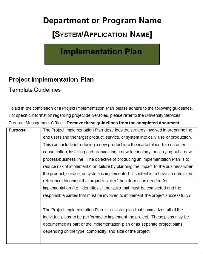 Project Implementation Plan Template - 5+ Free Word, Excel Documents - Implementation Plan Template