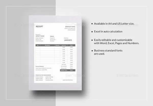 16+ Free Microsoft Word Receipt Templates Download Free  Premium