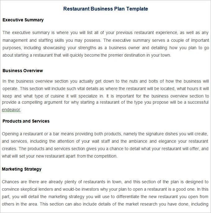 Restaurant Business Plan Template - 7+ Free PDF, Word Documents - restaurant business plan template