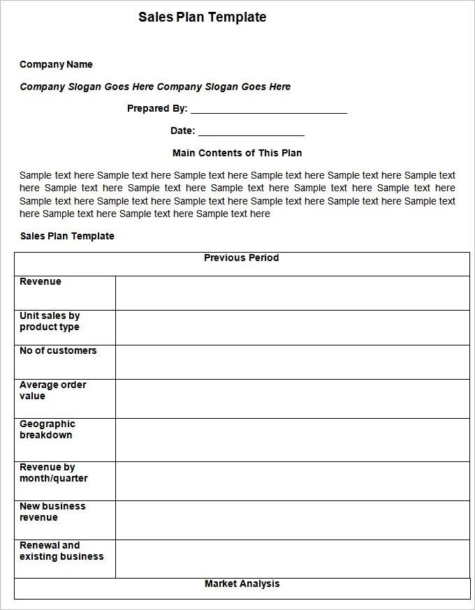 Sample Sales Plan Templates - sample sale order template