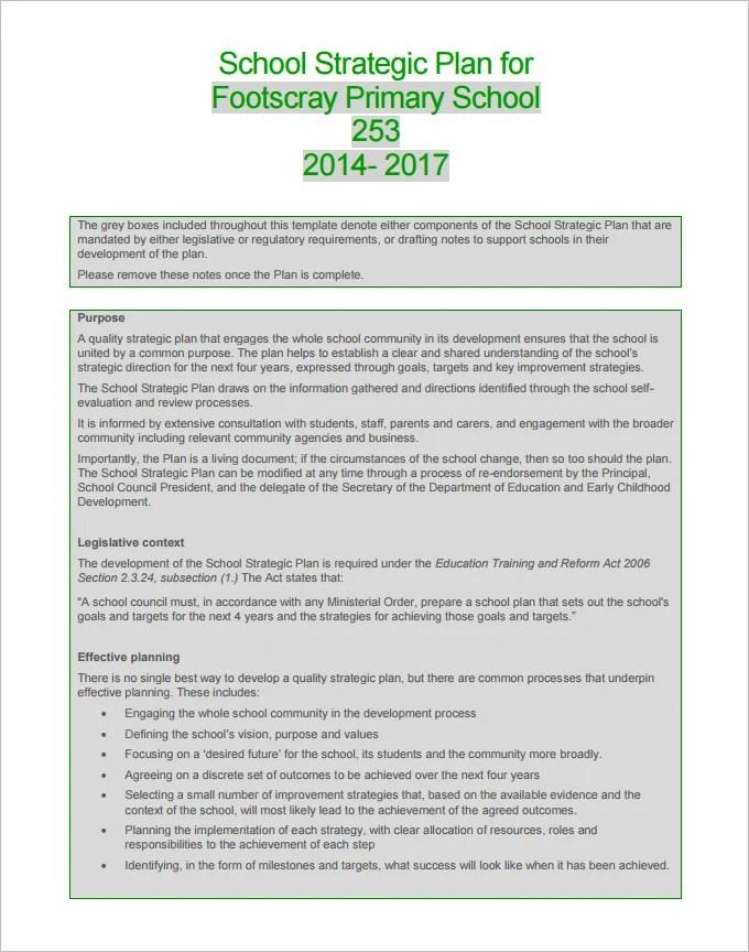 4+ School Strategic Plan Template - Free Word, PDF Documents - sample strategic plan