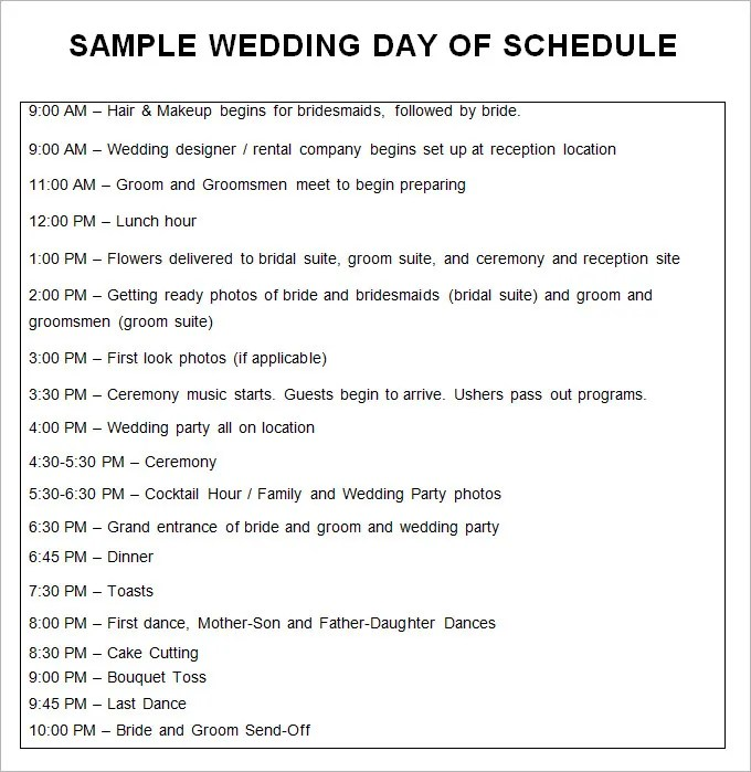 Wedding Schedule Templates \u2013 29+ Free Word, Excel, PDF, PSD Format - wedding schedule templates