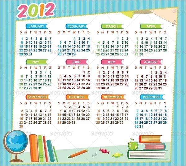 7+ Sample School Calendar Templates - Word, PSD Free  Premium