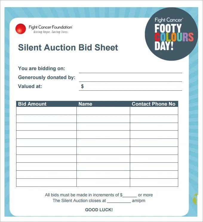 how to make a silent auction bid sheet