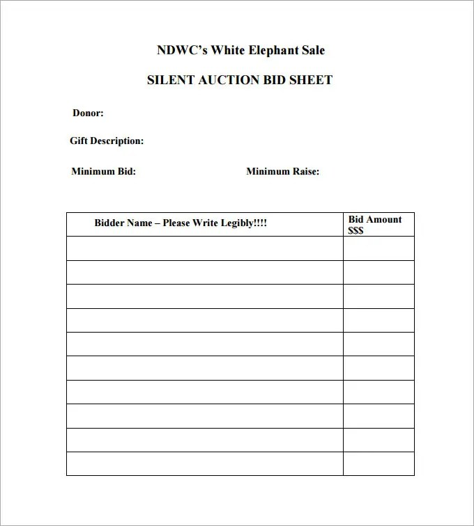 20+ Silent Auction Bid Sheet Templates  Samples - DOC, PDF, Excel