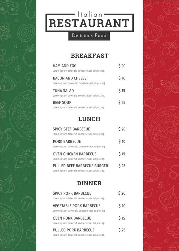 28+ Restaurant Menu Templates - Psd, Docs, Pages Free  Premium
