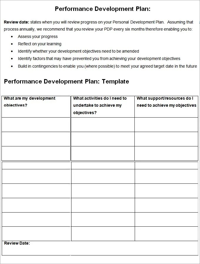 Performance Development Plan Template - Development Plan Template - development plan template for employees