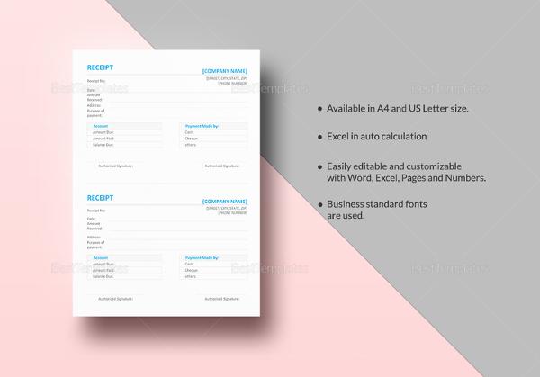 16+ Free Microsoft Word Receipt Templates Download Free  Premium
