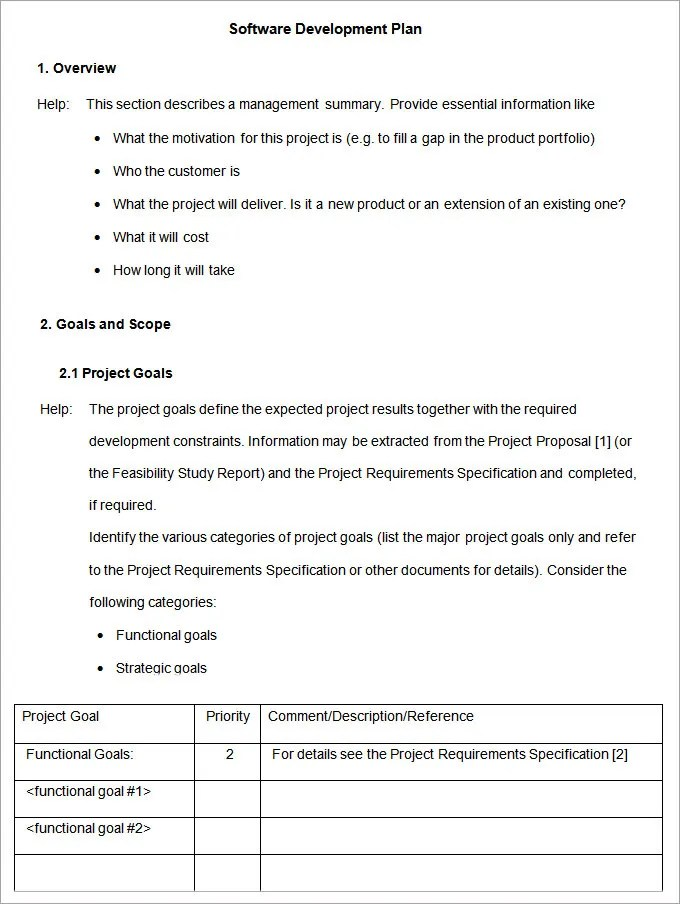 Software Development Plan Template Free \ Premium Templates - development plan templates