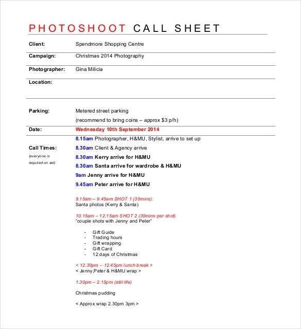model call sheet template - Boatjeremyeaton
