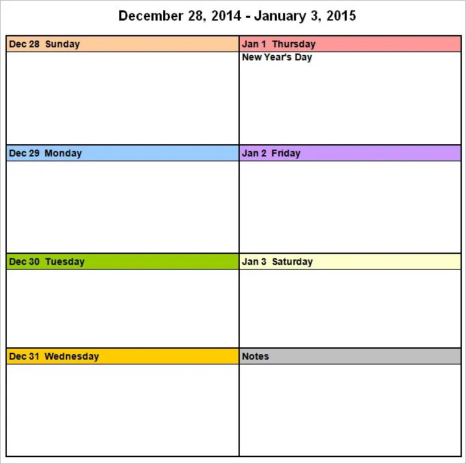 Week Calendar Template - 8+ Free Word Documents Download Free