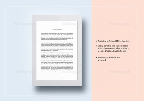 10+ Sample Witness Statement Templates - PDF, DOC Free  Premium