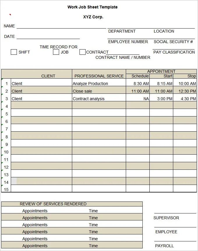 Excel In A Job – Job Sheet Template