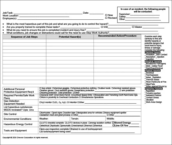 job hazard analysis worksheet - Ozilalmanoof