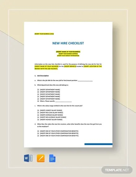 New Hire Checklist Template - 17+ Free Word, Excel, PDF Documents