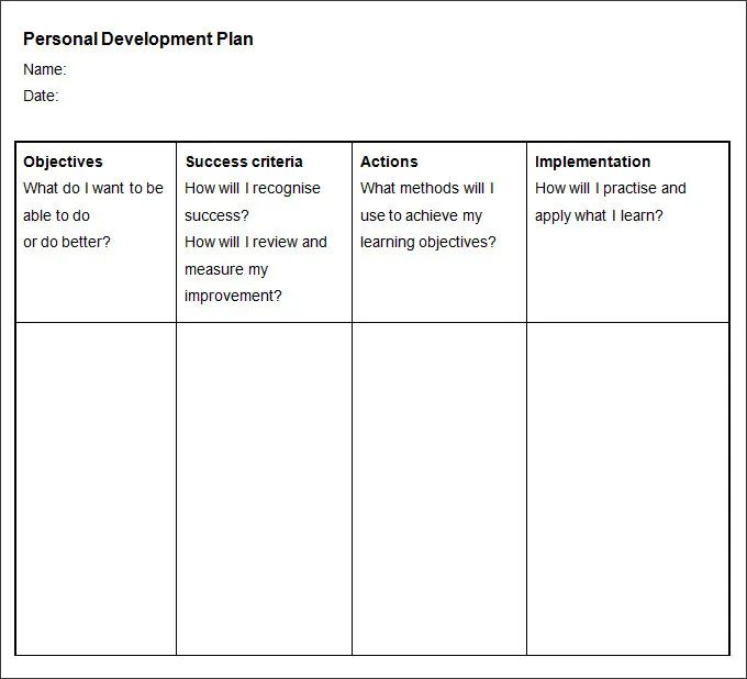 personal development plan template excel