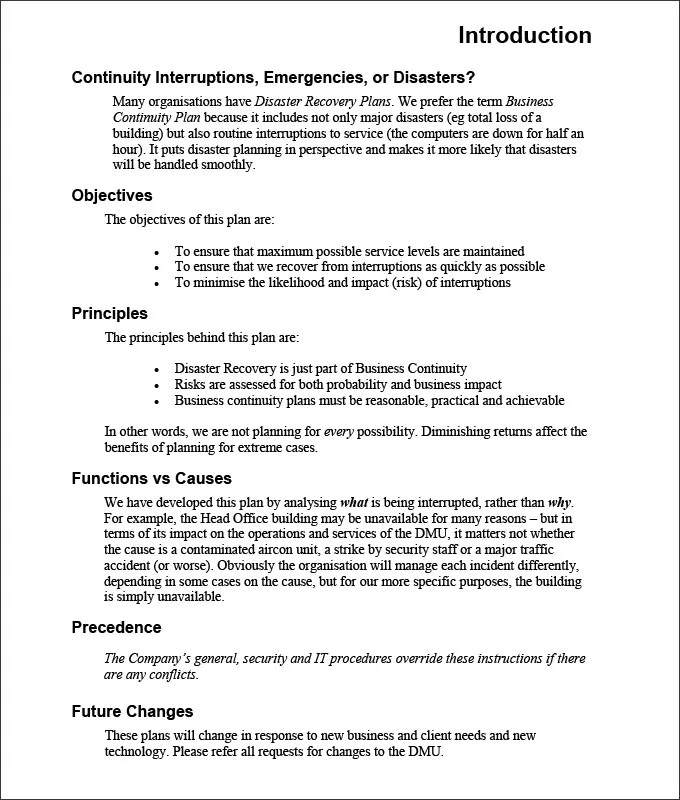 Business Continuity And Disaster Recovery Template Disaster - free business continuity plan template