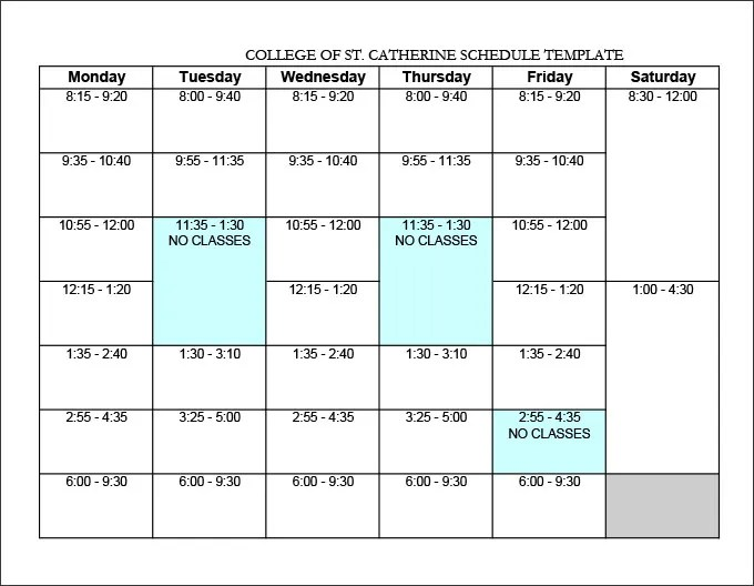 college schedule templates - Onwebioinnovate - weekly class schedule template