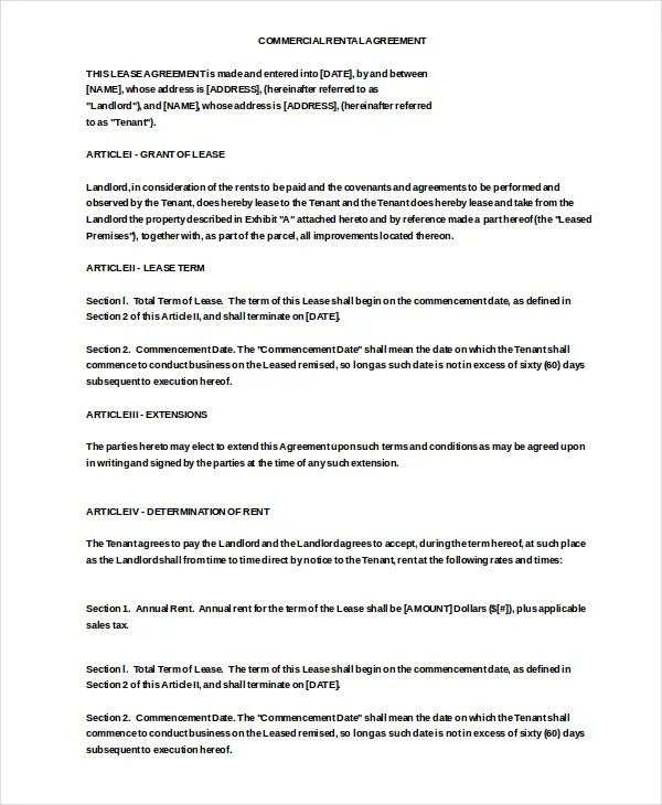 Commercial Rental Agreement \u2013 17+ Free Word, PDF Documents Download - commercial rent agreement format