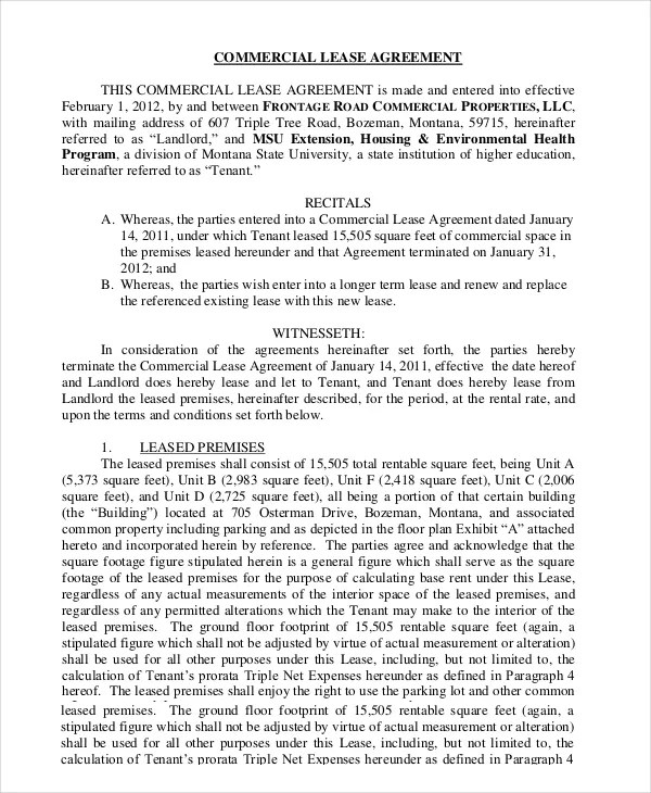 Commercial Lease Printable Commercial Lease Agreement Template Free