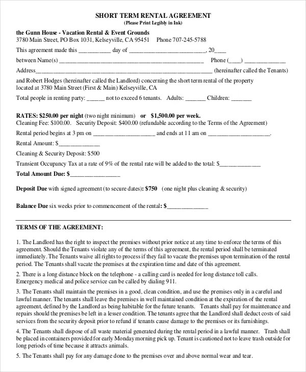 Short-Term Rental Agreement \u2013 10+ Free Word, PDF Documents Download