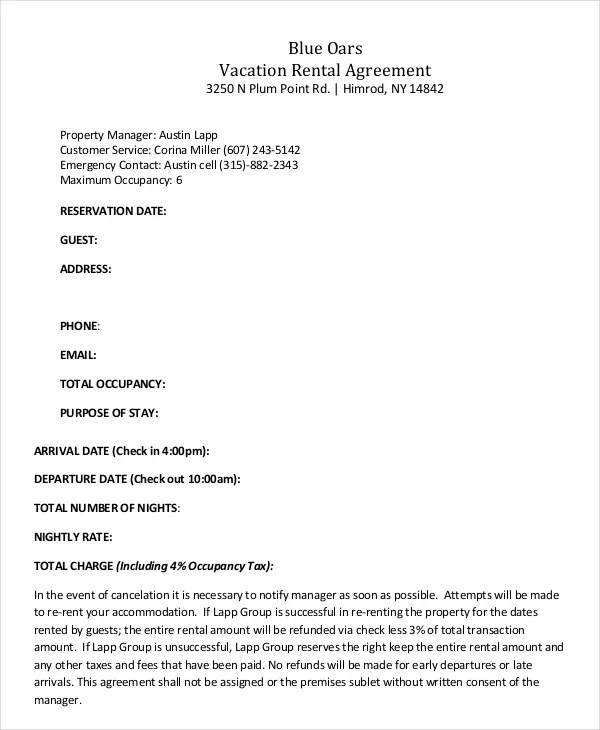 Vacation Rental Agreement \u2013 8+ Free Word, PDF Documents Download