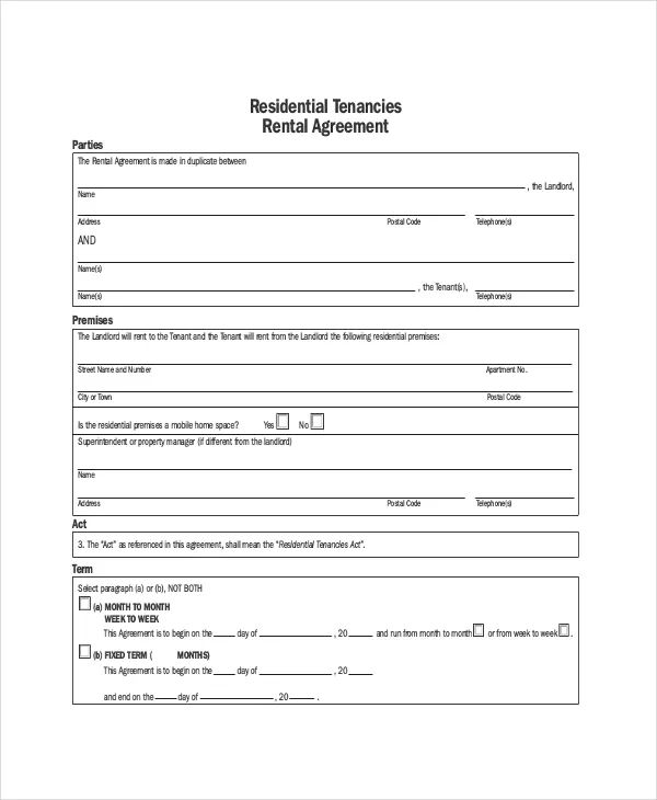 apt rental application form