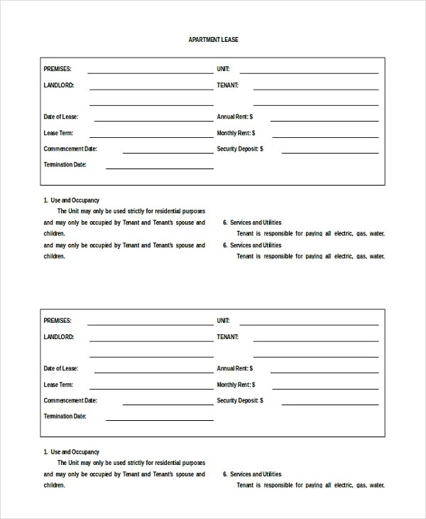13+ Apartment Rental Agreement Templates u2013 Free Sample, Example - apartment lease agreements