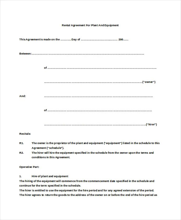 15+ Basic Rental Agreement Templates u2013 Free Sample, Example Format - free simple lease agreement template