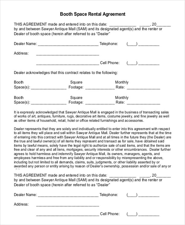 18+ Booth Rental Agreement Templates - Free Downloadable Samples