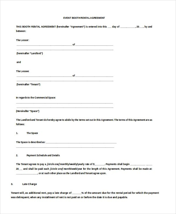17+ Booth Rental Agreement Templates \u2013 Free Downloadable Samples