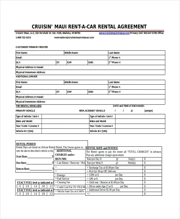 16+ Car Rental Agreement Templates \u2013 Free Sample, Example Format - Auto Contract Template