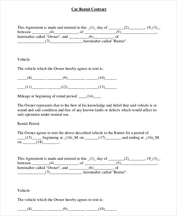 16+ Car Rental Agreement Templates \u2013 Free Sample, Example Format