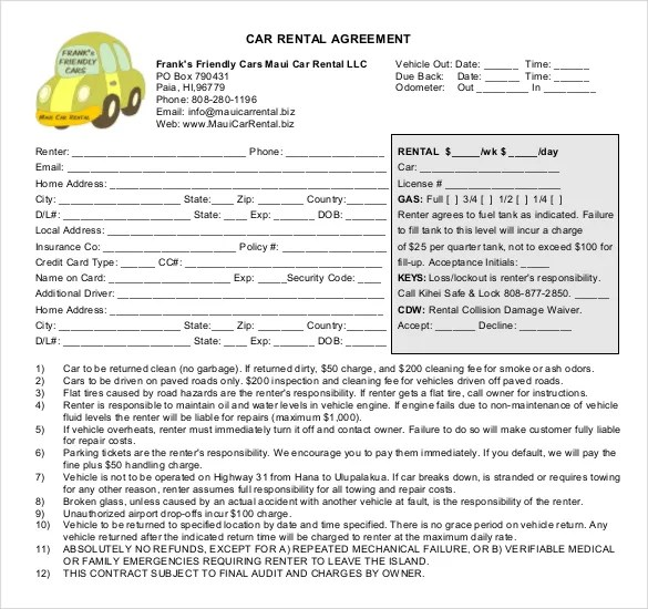 16+ Car Rental Agreement Templates \u2013 Free Sample, Example Format - Free Lease Agreement Forms To Download