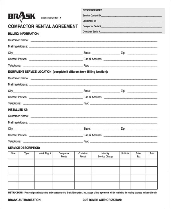 12+ Equipment Rental Agreement Templates u2013 Free Sample, Example - equipment rental agreement sample
