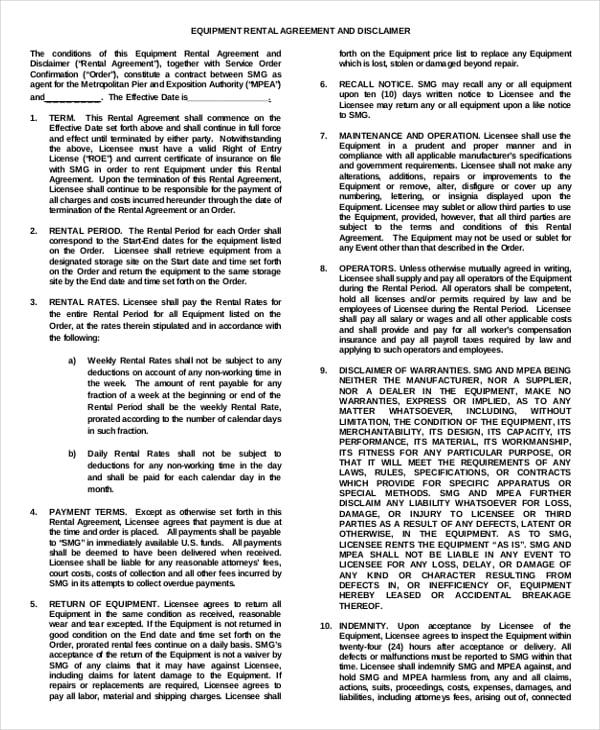 19+ Equipment Rental Agreement Templates - DOC, PDF Free  Premium