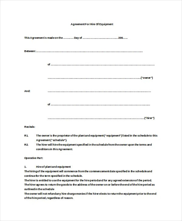 12+ Equipment Rental Agreement Templates u2013 Free Sample, Example - sample equipment rental agreement
