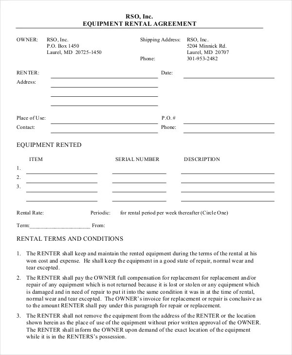 21+ Equipment Rental Agreement Templates - Free Sample, Example - free blank lease agreement forms