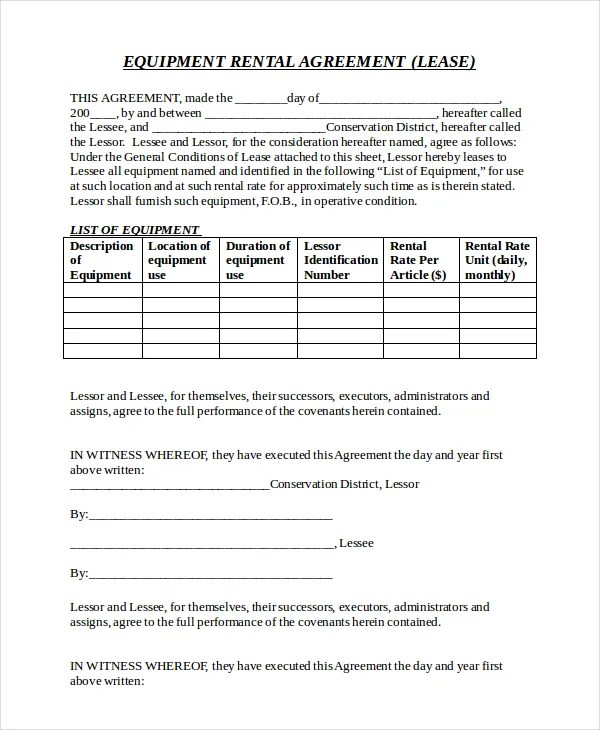21+ Equipment Rental Agreement Templates - Free Sample, Example