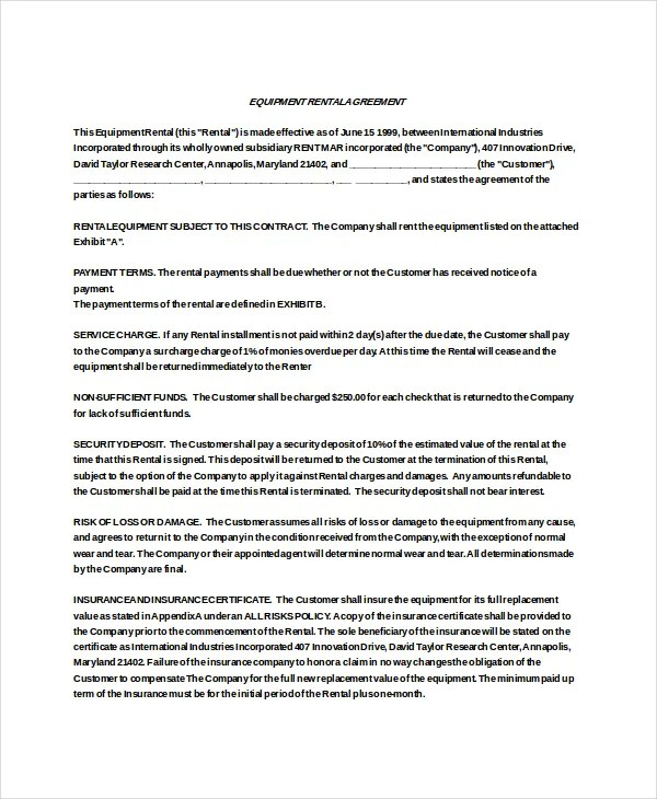 Rental Agreement Contract Other Size  S  Editable Blank Rental - equipment rental agreement sample