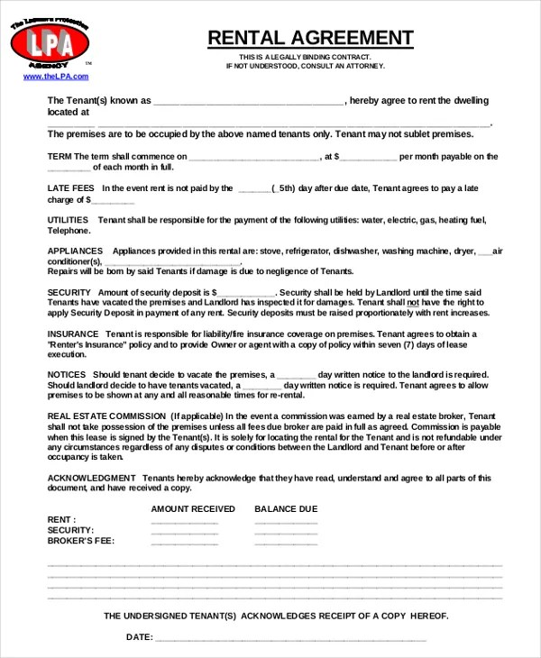 17+ Free Rental Agreement Templates \u2013 Free Sample, Example Format