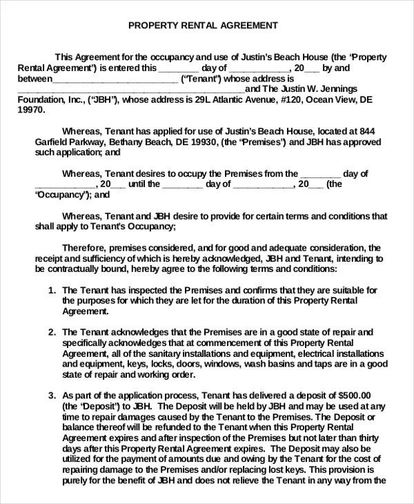 15+ Property Rental Agreement Templates \u2013 Free Sample, Example