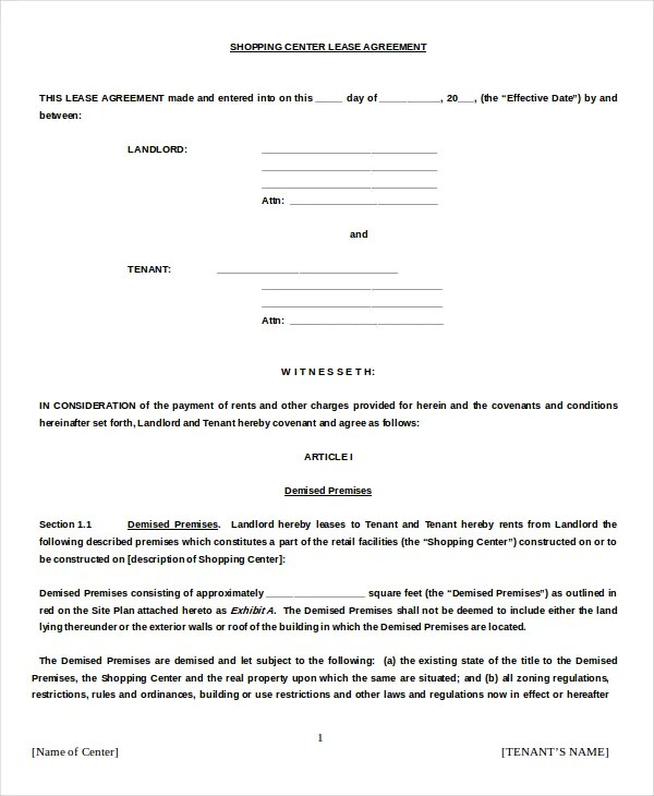 Commercial Agreement Format Commercial Lease Agreement Templates
