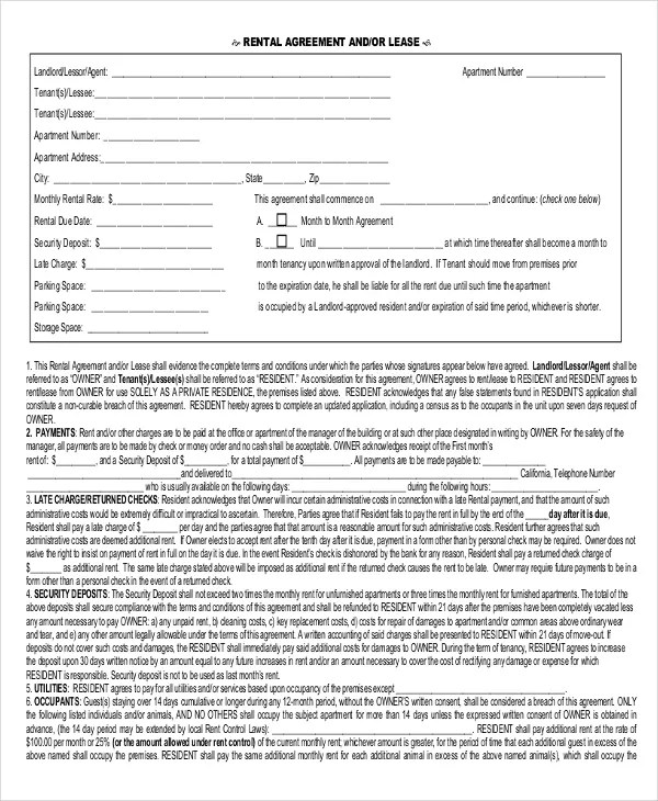 simple rental agreement one page - Militarybralicious - free blank lease agreement forms