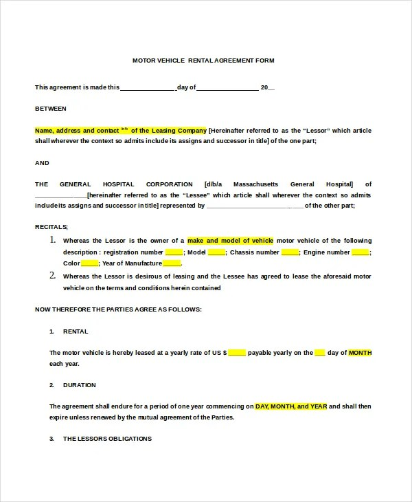 20+ Rental Agreement Form Templates \u2013 Free Sample, Example Format - Sample Lease Agreement Form
