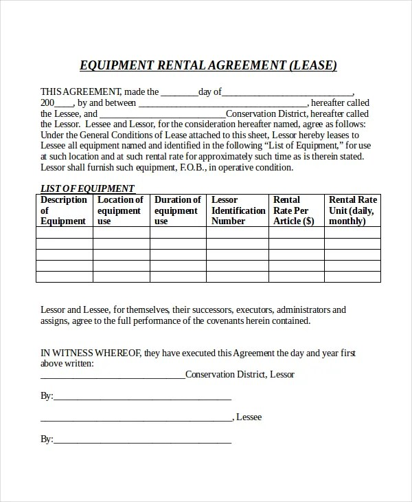 14+ Rental Agreement Form Templates u2013 Free Sample, Example Format - equipment rental agreement sample